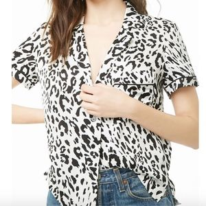 Leopard Print Button Down Blouse Sz S